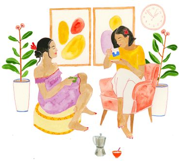Two people drinking tea